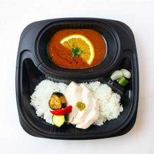マサラカレーオレンジ風味と鶏胸肉の柚子胡椒ソース